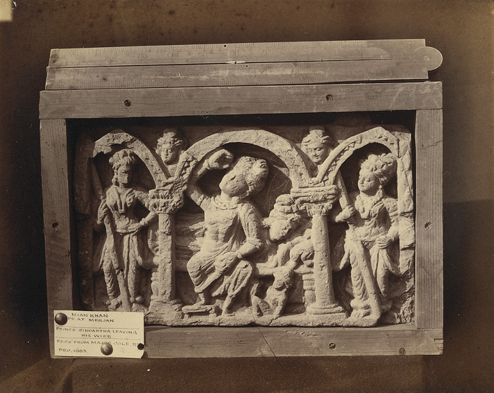 Buddhist sculpture slab from Mir Jan, Peshawar District: Buddha taking leave from his wife.